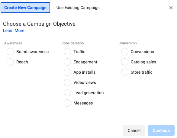 Facebook ads Campaign objective